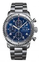 Мужские спортивные часы Breitling Aviator 8_A13316101C1A1 хронограф с датой и днем недели в стальном корпусе, на синем циферблате черные счетчики, стальной браслет.