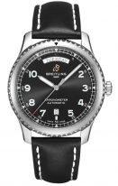 Мужские спортивные часы Breitling Aviator 8_A45330101B1X1 с датой и днем недели в стальном корпусе, черный циферблат, черный ремешок.