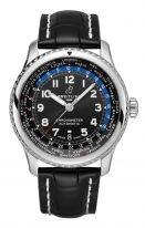 Мужские спортивные часы Breitling Aviator 8_AB3521U41B1P1 мировое время в стальном корпусе, темный циферблат, черная кожа кроко.