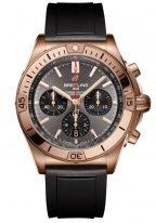 Мужские спортивные часы Breitling Chronomat RB0134101B1S1 хронограф в розовом золоте, антрацидный циферблат с черными счетчиками, черный каучук