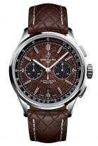 Мужские спортивные часы Breitling Premier AB01181A1Q1X1 хронограф в стальном корпусе, на коричневом циферблате черные счетчики, стеганый коричневый ремешок