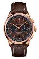 Мужские спортивные часы Breitling Premier RB01181A1Q1X1 хронограф в розовом золоте, на коричневом циферблате черные счетчики, стеганый коричневый ремешок