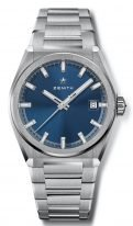 Мужские спортивные часы Zenith Defy 95 9000 670 51 M9000 в титановом корпусе, синий гильошированный циферблат, титановый браслет.
