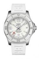Женские спортивные часы Breitling Superocean A17316D21A1S1 в стальном корпусе, белый циферблат, белый каучук.