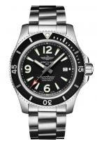 Мужские спортивные часы Breitling Superocean A17367D71B1A1 с датой в стальном корпусе, черный циферблат, стальной браслет.