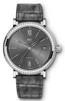 Женские наручные часы IWC Portofino IW458104 с датой в стальном корпусе с бриллиантовым рантом, серый циферблат с римскими цифрами и индексами, серый ремешок кроко