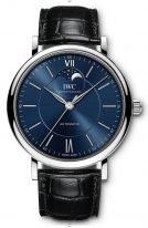 Женские наручные часы IWC Portofino IW459402 с фазами Луны в стальном корпусе, синий циферблат, черный ремешок кроко.