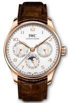 Мужские наручные часы IWC Portugieser IW344202 вечный календарь в розовом золоте, на светлом циферблате золотые арабские цифры и стрелки, коричневый ремешок кроко