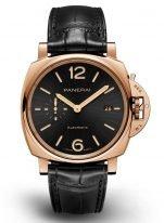 Мужские классические часы Panerai Luminor Due PAM01041 в розовом золоте с датой, черный циферблат, черная кожа кроко