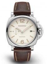 Мужские классические часы Panerai Luminor Due PAM01046 в стальном корпусе с датой, циферблат цвета слоновой кости, коричневый телясий ремешок