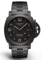 Мужские спортивные часы Panerai Luminor PAM01438 в керамическом корпусе со временем второго часового пояса, черный циферблат, титановый браслет