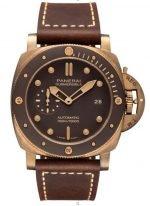 Мужские спортивные часы Panerai Submersible PAM00968 в бронзовом корпусе, коричневый циферблат, коричневая кожа.