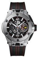 Мужские спортивные часы Hublot Big Bang 402_NX_0123_WR хронограф в титановом корпусе, темный скелетон циферблат, кожа алькантара с красной прошивкой.