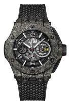 Мужские спортивные часы Hublot Big Bang 402_QC_0112_NR хронограф в корпусе из карбона и керамики, темный скелетированный циферблат, ремешок superfabric с черной прошивкой