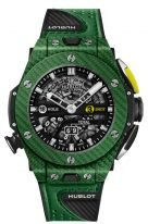 Мужские спортивные часы Hublot Big Bang 416_YG_5220_VR хронограф в карбоновом корпусе, темный скелетированный циферблат, зеленая кожа теленка