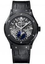 Мужские часы Hublot Classic Fusion 517_CX_0170_LR с фазами Луны, годовым календарем в керамическом корпусе, на скелетированном циферблате часовые меткис родиевым покрытием и сатинированные стрелки, черная кожа кроко.