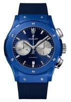 Мужские часы Hublot Classic Fusion 521_EX_7179_RX_CFC19 лимитированный хронограф в синей керамике, синий сатинированный циферблат, синий каучук