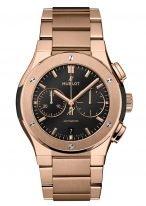Мужские часы Hublot Classic Fusion 540_OX_1180_OX хронограф в розовом золоте, черный циферблат с золотыми часовыми метками и стрелками, браслет из розового золота