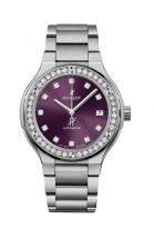 Женские часы Hublot Classic Fusion 568_NX_897V_NX_1204 в титановом корпусе с бриллиантовым рантом, на лучистом фиолетовом циферблате часовые метки и стрелки, титановый браслет.