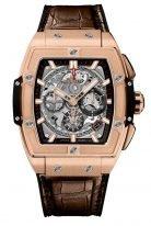 Мужские спортивные часы Hublot Spirit of Big Bang 641_OX_0183_LR с хронографом в розовом золоте, на скелетированном сером циферблате золотые часовые метки и стрелки покрытые люминесцентом, коричневая кожа кроко.