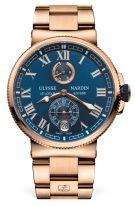Мужские спортивные часы Ulysse Nardin Marine 1186 126 8M_43 с индикатором запаса хода и датой в розовом золоте, на синем циферблателюминесцентные римские цифры и стрелки, браслет из розового золота.