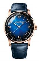Мужские классические часы Audemars Piguet CODE1159 15210OR_OO_A028CR_01 в розовом золоте, синий циферблат с цифрами и метками из розового золота, синяя кожа.