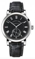 Мужские классические часы Lange Sohne Richard Lange 260 028 в белом золоте, маленькая секундная стрелка, черный циферблат, черная кожа кроко