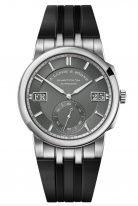Мужские спортивные часы Lange Sohne Odysseus 363 068 в белом золоте, большая дата, день недели, серый циферблат, черный каучуковый ремешок.