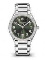 Женские часы Patek Philippe Twenty4 7300-1200A-011 в стальном корпусе с бриллиантовым безелем, зеленый циферблат с накладными цифрами, стальной браслет.
